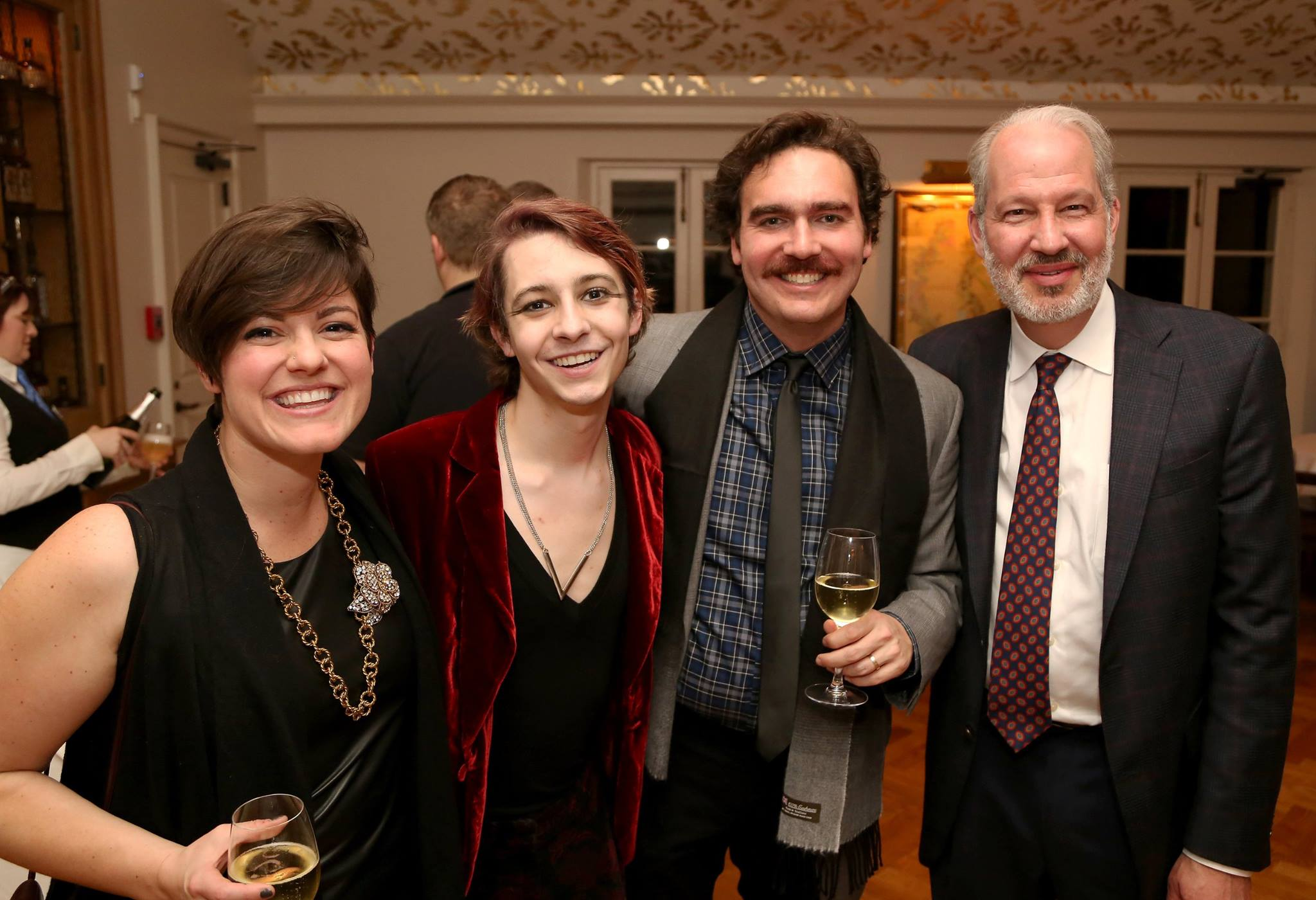 """Jesus Christ Superstar"" opening night party. Left to right: Katie Hallman; Logan Faust (Herod); Cavan Hallman; Ned Benjamin (Le Petit board member)."