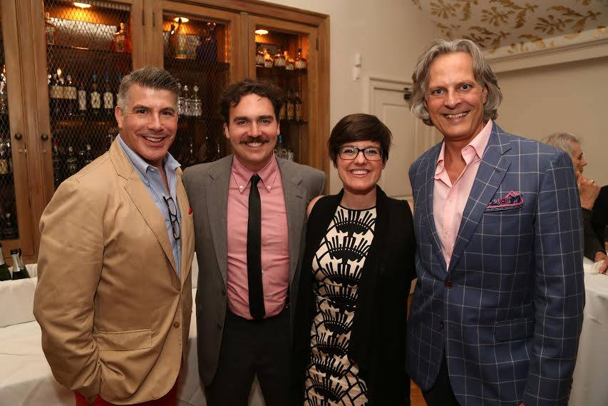 "Katie and Cavan with Le Petit board member Bryan Batt and ""Merrily We Roll Along"" director Tom Cianfichi"